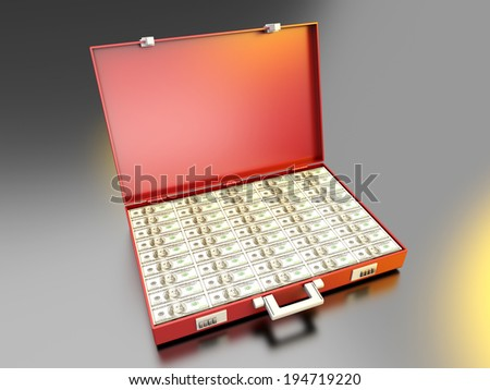 A briefcase full of Cash. - stock photo