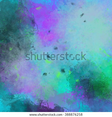 A bright abstract background in purple green and blue. It seems to be organic but very cheerful. - stock photo