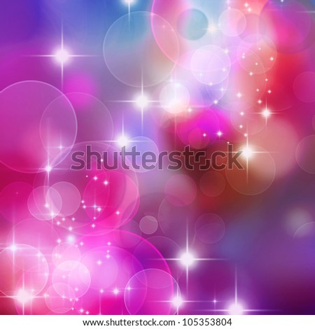 A bright  background with blue, purple and pink bokeh effects - stock photo