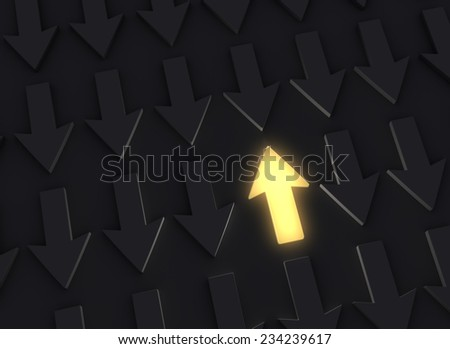 A bright, glowing yellow Up Arrow stands out in a dark field of down arrows