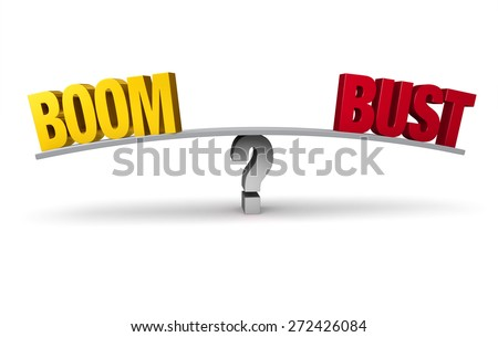 "A bright, gold ""BOOM"" and a red ""BUST"" sit on opposite ends of a gray board balanced on a gray question mark. Isolated on white.  - stock photo"