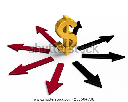 A bright, gold dollar sign stands in center of black and red arrows pointing in different directions.  Red arrows point to losses, black arrows to gains.  Isolated on white.  - stock photo