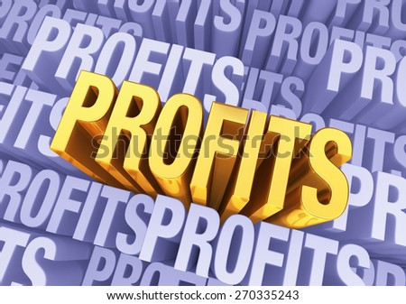 "A bright, gold ""PROFITS"" emerges from a light, 3D blue gray background filled ""PROFITS"" at different depths."
