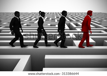 A bright leader guides the team out of a maze. An executive leader helps the team find their way out of a complex maze using his unique intelligence.  - stock photo
