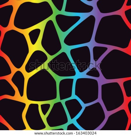 A bright multicolored giraffe spotted background. Seamlessly Repeatable. Raster. - stock photo