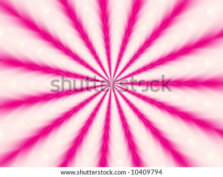 A bright pink and white fractal background radiating in alternating colored lines from the center. - stock photo