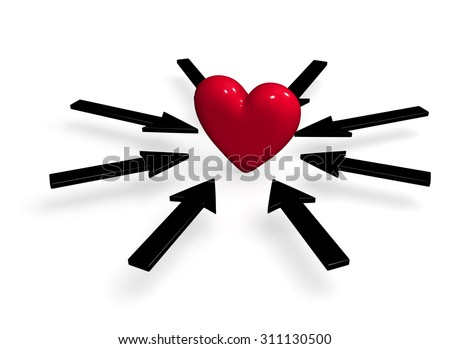 A bright, red heart is surrounded by several black arrows all pointing towards it. Isolated on white.  - stock photo