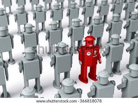A bright red, 1950s style tin toy robot, stands out in rows of identical plain gray robots.  Shallow DOF with focus on the red robot.