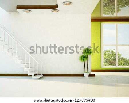 a bright room with the stairs, a plant, and a big window - stock photo