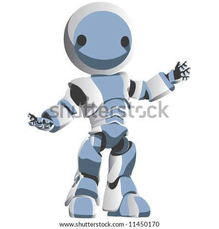 A bright white and blue robot presenting an idea in an attractive manner.