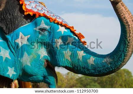 A brightly painted elephant at the Elephant Festival in Jaipur - stock photo