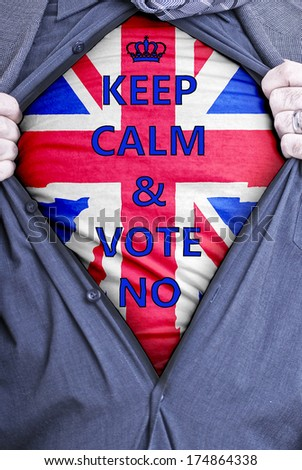 A British businessman rips open his shirt and states for voters to vote no in the 2014 vote for Scottish independence. - stock photo