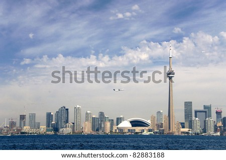 A broad view of the Toronto Skyline - stock photo