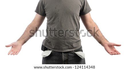 A broke man with empty pockets, isolated on a white background. - stock photo