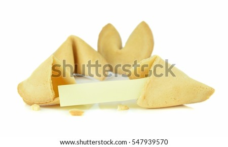 A broken Chinese fortune cookie with a blank message space on a white background