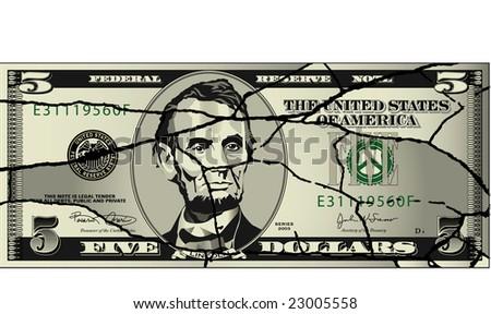 A broken five dollar bill - stock photo