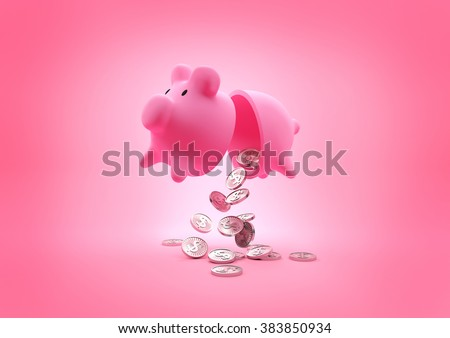 A broken piggy bank dropping coins onto the floor. 3D Illustration. - stock photo