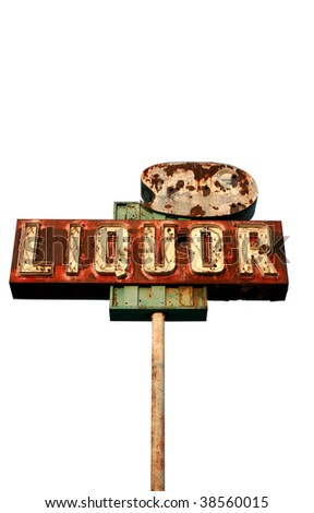 "a broken yet beautiful old rusty ""liquor store"" neon sign ""isolated on white"" - stock photo"