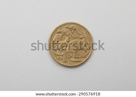 A bronze Australian Coin 1 Dollar - Tails  Five Kangaroo - stock photo