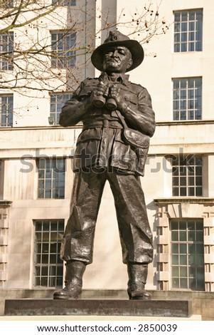 a bronze statue in central London - stock photo