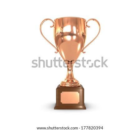 a bronze trophy cup with insignia plate. - stock photo