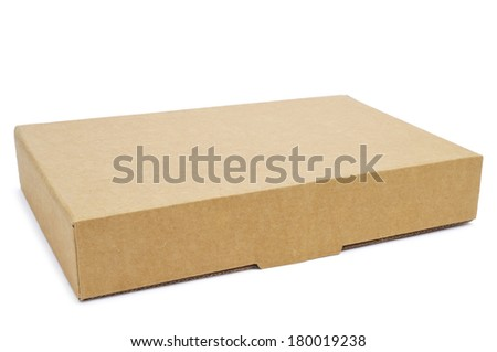 a brown cardboard box on a white background - stock photo