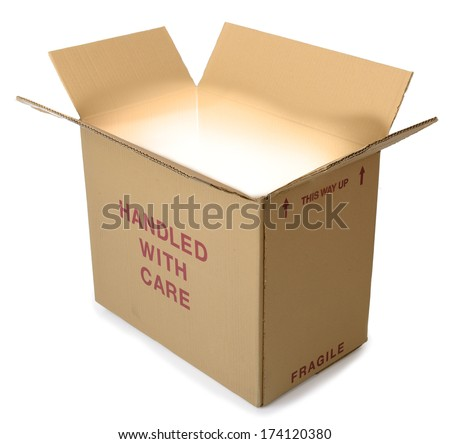 A brown cardboard box open with light coming from out the box and isolated on a white background - stock photo