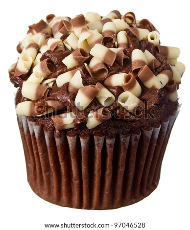 A Brown Chocolate Cupcake with Sprinkles - stock photo