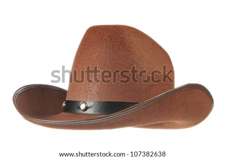 A brown cowboy hat in front of a white background. - stock photo
