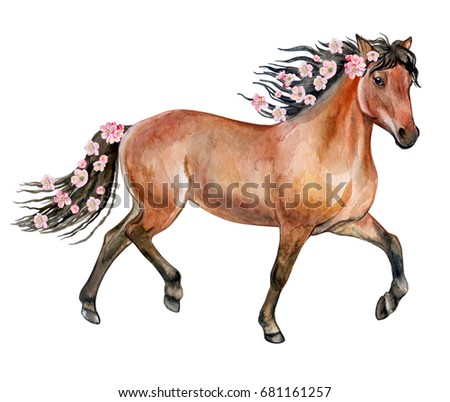 A brown horse with a flowering mane. Flowers and a horse. Watercolor. illustration. Picture. Image.