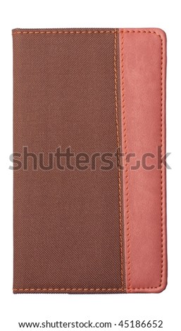 A brown leather and fabric notebook cover isolated on white