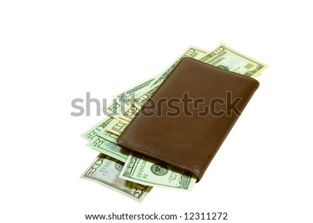 A brown leather checkbook stuffed full of crisp US currency. Here is a great financial motive for you to use! - stock photo