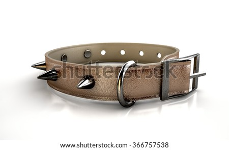A brown leather dog collar with metal spiked studs isolated on an isolated white studio background