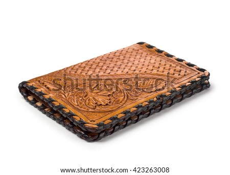 A brown leather wallet cover for money, passport closeup isolated white - stock photo
