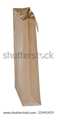 A brown paper shopping bag isolated against a white background.