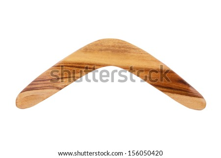 A Brown Wooden Boomerang Isolated on a White Background  - stock photo