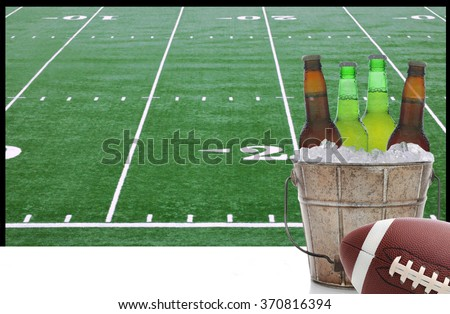 A bucket of beer and an American Football in front of a big screen television with field. Great for Super Bowl themed projects. - stock photo