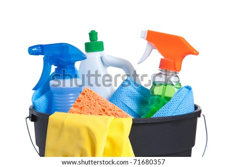 A Bucket with Cleaning Supplies isolated on White - stock photo