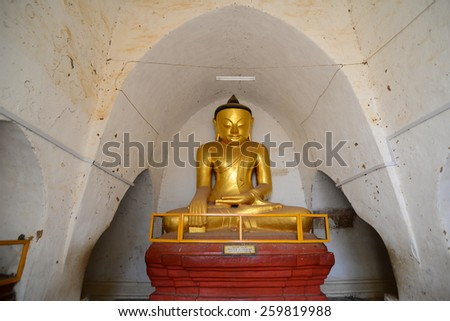 A Budha statue in temples in Bagan, Myanmar - stock photo