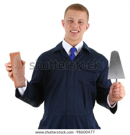 A builder holding a brick and a trowel, isolated on white