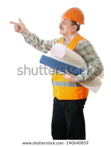 A builder in uniform pointing to the side isolated on white background