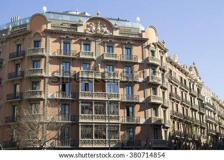 A building of Eixample quarter. Barcelona, Catalonia  - stock photo