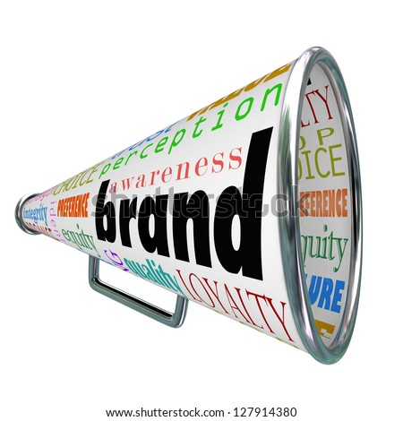 A bullhorn or Megaphone trumpeting a product's or comapny's brand to build reputation, identity, credibility and other branding elements - stock photo