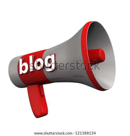 """A bullhorn with the text """"blog"""" on the white background. - stock photo"""