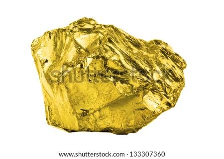 A bullion of gold isolated on white background - stock photo