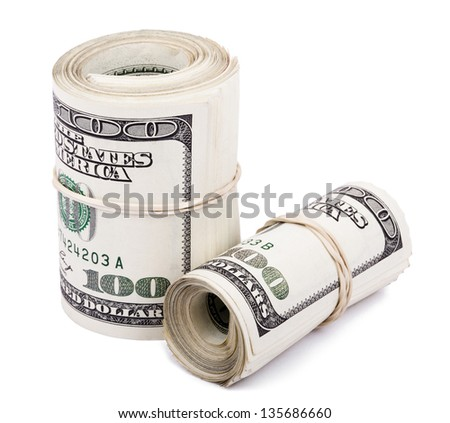 A bunch of 100 American Dollars money notes rolled up and held together with a simple rubber band. Two Rolls. Isolated on white background. - stock photo