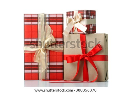 a bunch of beautiful and great gifts tied in a bow isolated on white background
