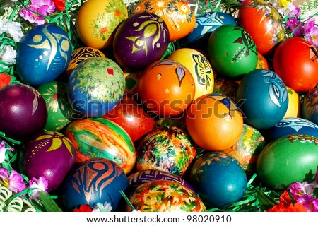 A bunch of beautiful painted easter eggs
