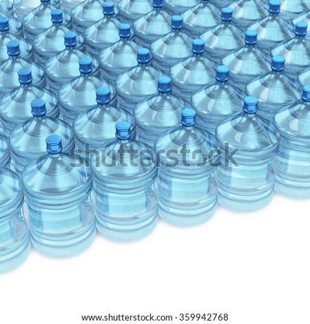 A bunch of blue transparent plastic bottles of water isolated on white background - stock photo
