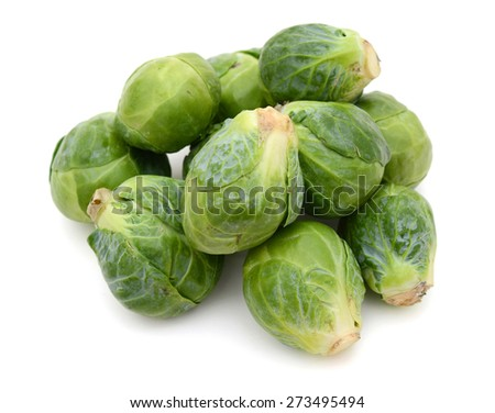 a bunch of brussel sprouts on white background